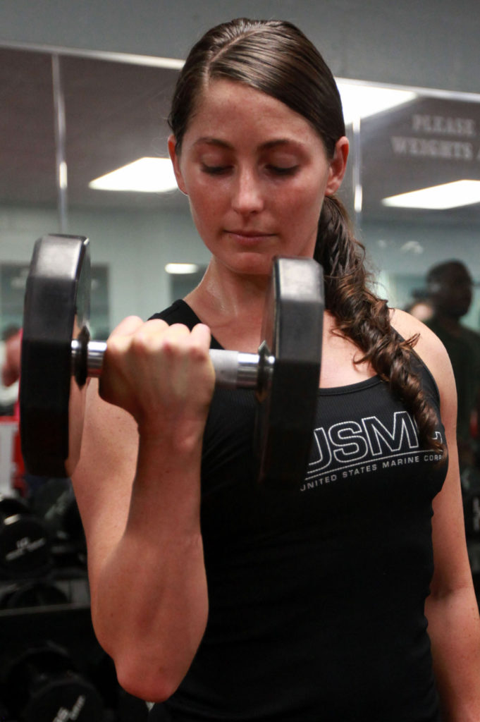 Girl dumbbell biceps curl
